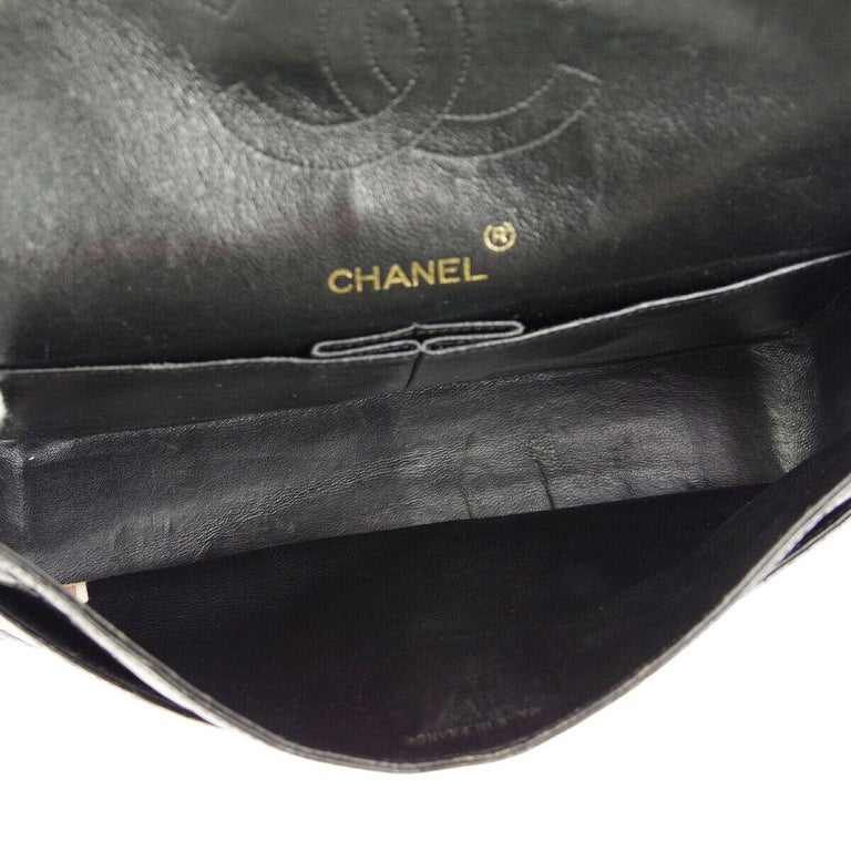 Chanel Black Crocodile Exotic Leather Gold Double Evening Shoulder Flap Bag For Sale 4