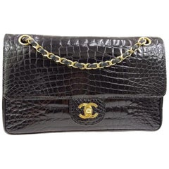 Chanel Black Crocodile Exotic Leather Gold Double Evening Shoulder Flap Bag