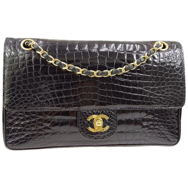 Chanel Black Crocodile Exotic Leather Gold Double Evening Shoulder Flap Bag For Sale