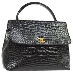 Chanel Black Crocodile Exotic Leather Gold Evening Kelly Top Handle Satchel Bag