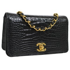 Chanel Black Crocodile Exotic Leather Gold Evening Shoulder Flap Bag in Box