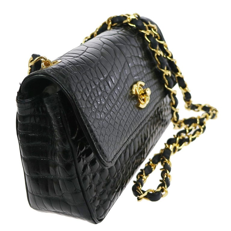 Chanel Black Crocodile Exotic Leather Gold Evening  Small Shoulder Flap Bag In Good Condition For Sale In Chicago, IL