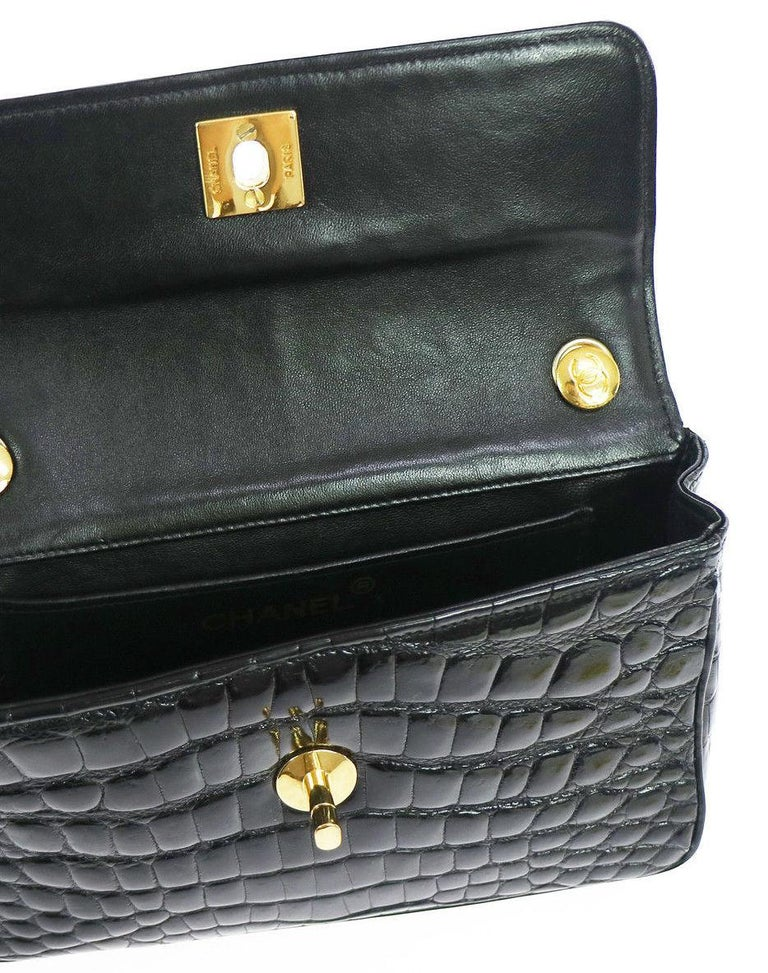 Women's Chanel Black Crocodile Exotic Leather Gold Evening  Small Shoulder Flap Bag For Sale