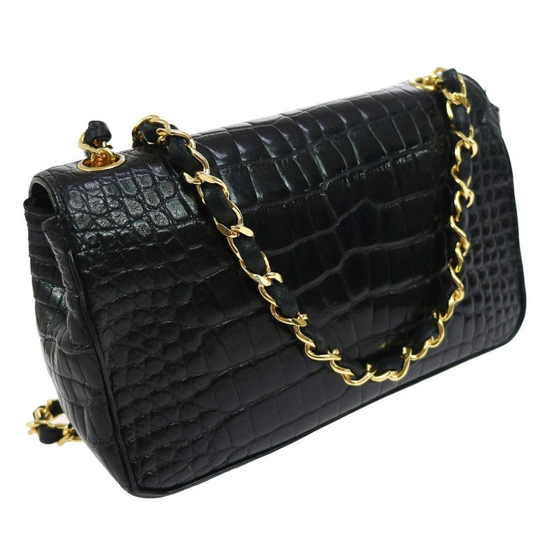 Chanel Black Crocodile Exotic Leather Gold Evening  Small Shoulder Flap Bag For Sale 1