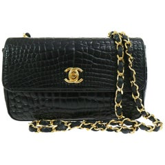 Chanel Black Crocodile Exotic Leather Gold Evening  Small Shoulder Flap Bag