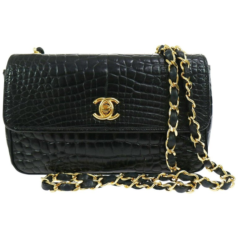 Chanel Black Crocodile Exotic Leather Gold Evening  Small Shoulder Flap Bag For Sale