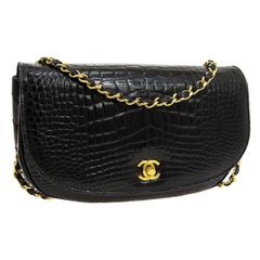 Chanel Black Crocodile Exotic Leather Gold Small Evening Shoulder Flap Bag