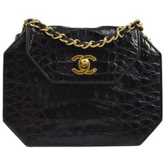 Chanel Black Crocodile Exotic Leather Gold Small Mini Evening Shoulder Flap Bag