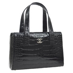 Chanel Black Crocodile Exotic Leather Silver Top Handle Satchel Bag