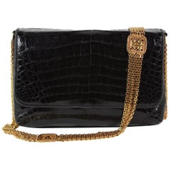 Chanel Black Crocodile Shoulder Bag with Gold Multi-Strand Chain Strap