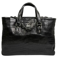 CHANEL Black Crocodile Tote Bag