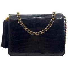 Chanel Black Crocodile Vintage Camera Tassel Bag with Gold Hardware