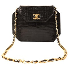 Chanel Black Crocodile Vintage Octagonal Flap Bag
