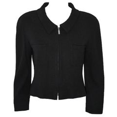 Chanel Black Cropped Jacket With Zip Front Closure With 2 Front Pockets