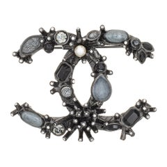 Chanel Black Crystal Brooch c2012 Abstract Gothic Black Tone