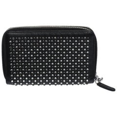 Chanel Black Crystal Embellished Leather Double Zip Wallet