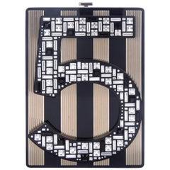 Chanel Black Crystal Gold 2 in 1 Evening Clutch Shoulder Bag