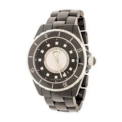 Chanel Black Diamond Pave Black Ceramic  J12 Women's Wristwatch 38 mm
