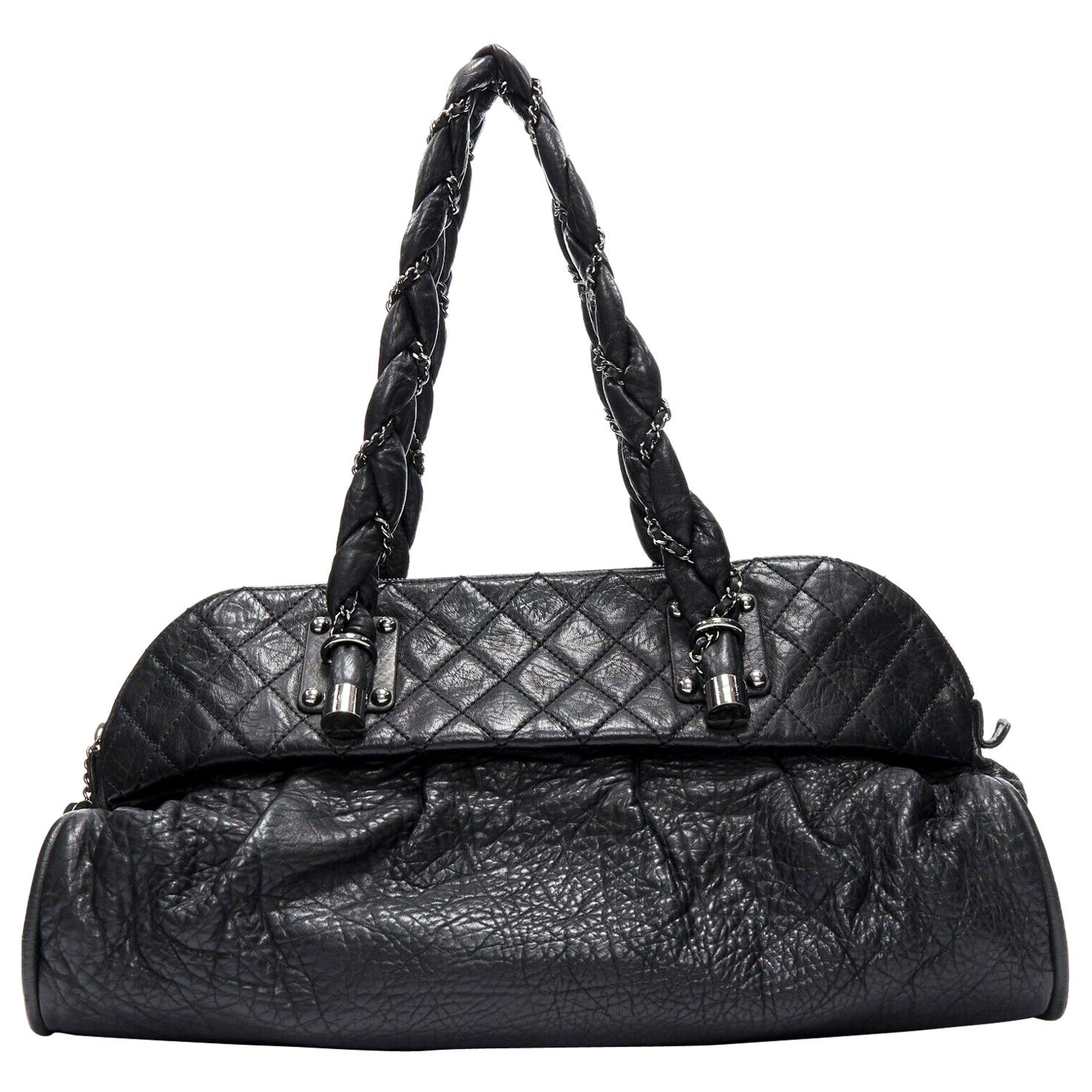 CHANEL black diamond quilted pebbled leather 2.55 braid strap shoulder bag
