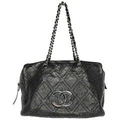 Chanel Black Diamond Stitch Large Shopper Tote