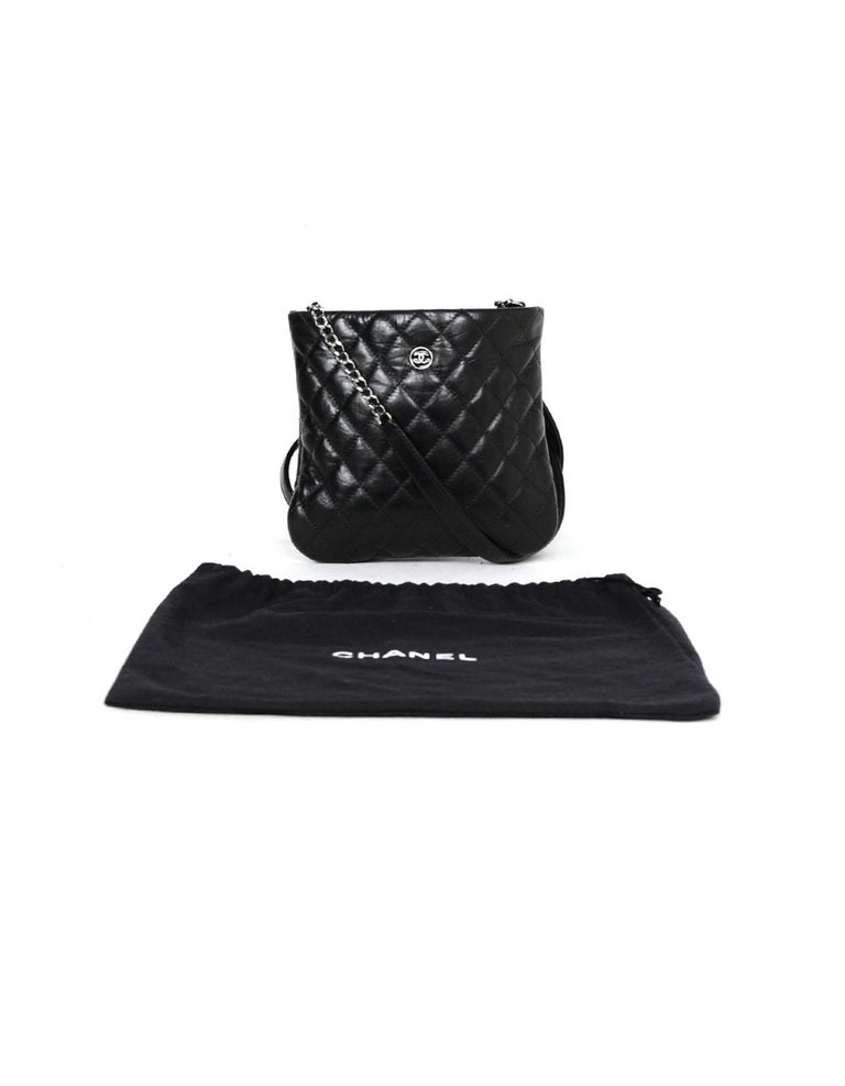 25a4b60260d8 Chanel Black Distressed Calfskin Quilted Uniform Crossbody Bag For Sale 6