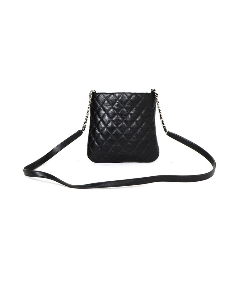 0961cff90866 Chanel Black Distressed Calfskin Quilted Uniform Crossbody Bag In Excellent  Condition For Sale In New York