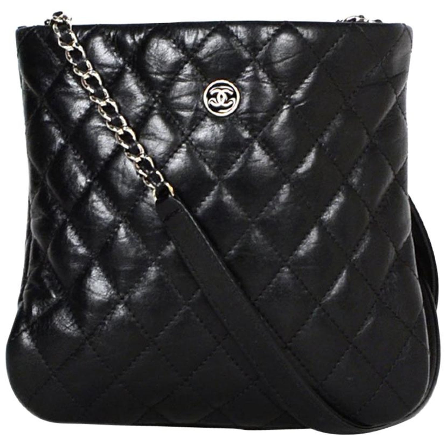 60949a29eaed Chanel Black Distressed Calfskin Quilted Uniform Crossbody Bag For Sale at  1stdibs