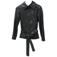 Chanel Black Double-Breasted Lambskin Belted Jacket