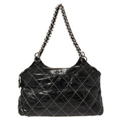 Chanel Black Double Stitched Quilted Leather Chain Bag