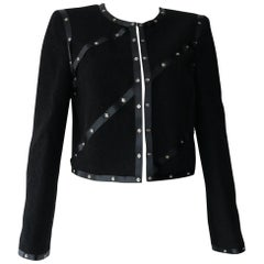 Chanel Black Embellished Jacket  with silver grommets Size M FALL 2003