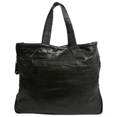 CHANEL Black Embossed Leather Tote Bag