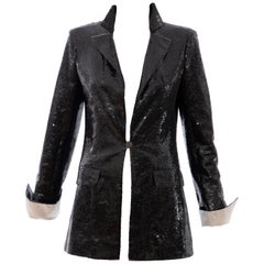 Chanel Black Embroidered Sequin Evening Jacket Ivory Silk Cuffs, Cruise 2009