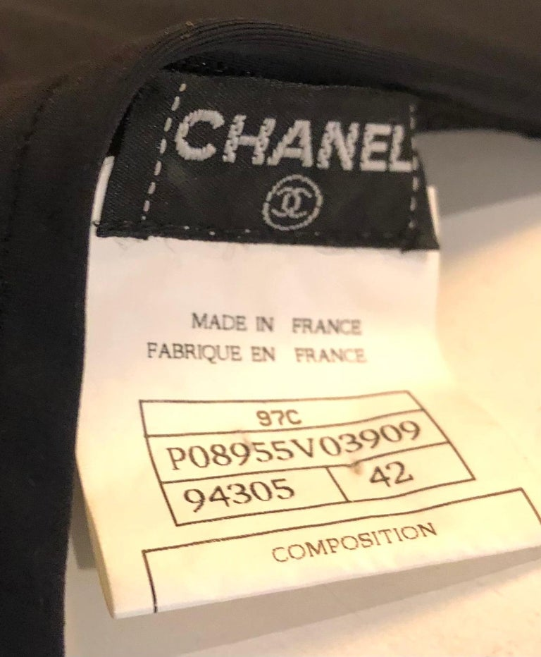 """Women's Chanel black embroidered with white """"CC"""" tank top from spring 1997 collection.  For Sale"""