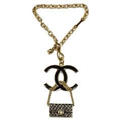 Chanel Black Enamel Goldtone CC & Flap Bag Keychain Bag Charm