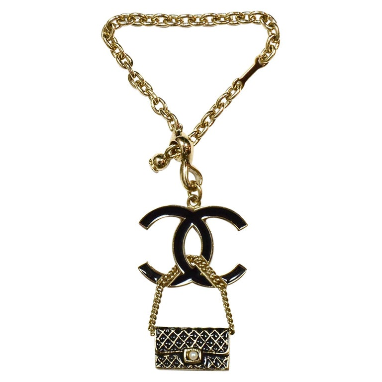 Chanel Black Enamel Goldtone CC & Flap Bag Keychain Bag Charm For Sale