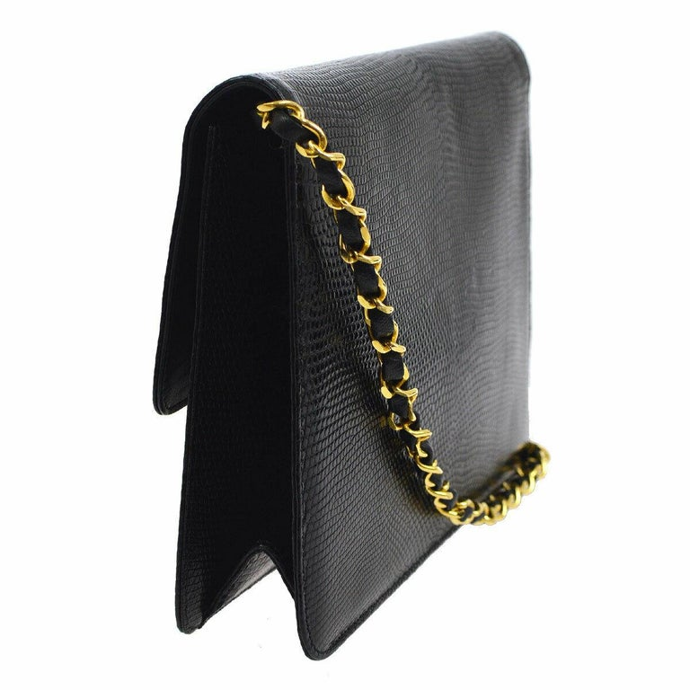 Women's Chanel Black Exotic Lizard Leather Gold Evening Small Shoulder Flap Bag For Sale