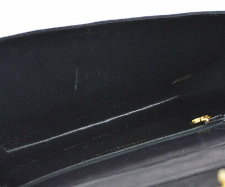 Chanel Black Exotic Lizard Leather Gold Evening Small Shoulder Flap Bag For Sale 3
