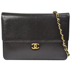 Chanel Black Exotic Lizard Leather Gold Evening Small Shoulder Flap Bag