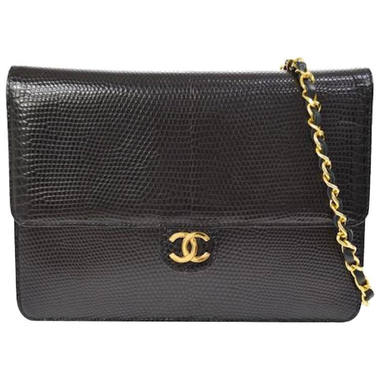 Chanel Black Exotic Lizard Leather Gold Evening Small Shoulder Flap Bag For Sale