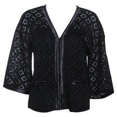 Chanel Black Eyelet Knit Silk Cardigan S