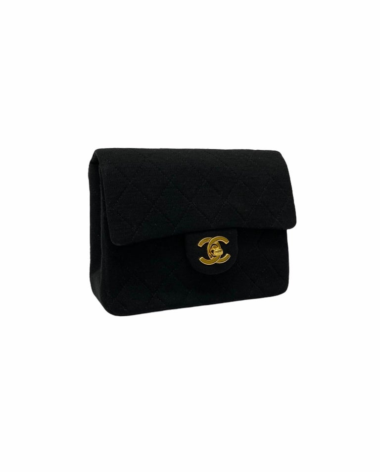 Chanel Black Fabbric Mini Flap Bag In Excellent Condition For Sale In Torre Del Greco, IT