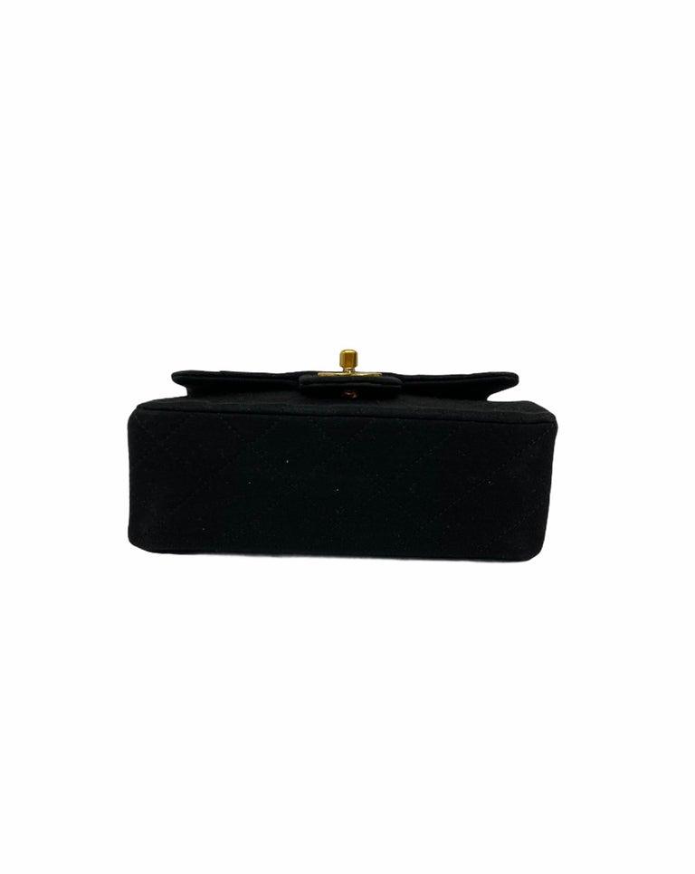 Women's Chanel Black Fabbric Mini Flap Bag For Sale