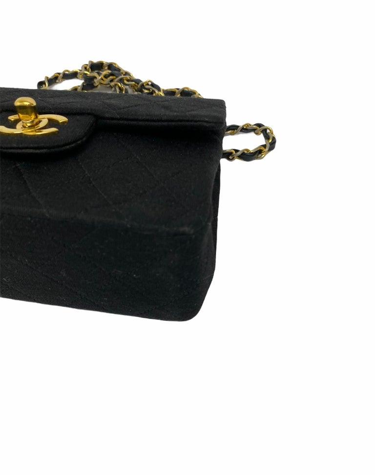 Chanel Black Fabbric Mini Flap Bag For Sale 1
