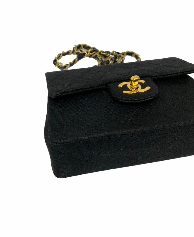 Chanel Black Fabbric Mini Flap Bag For Sale 2