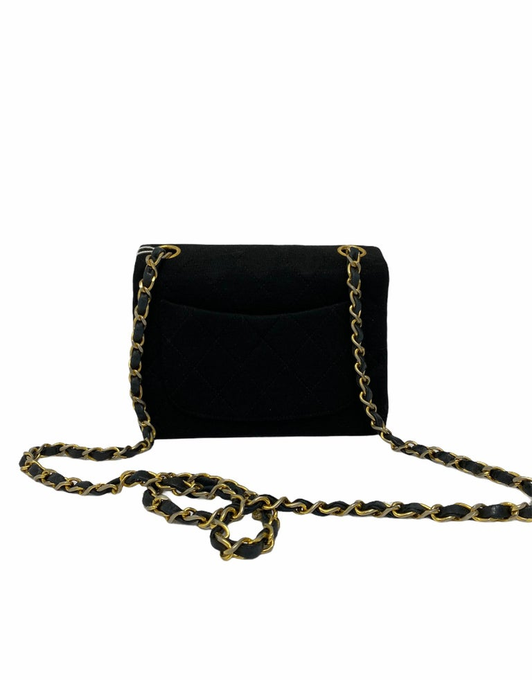 Chanel Black Fabbric Mini Flap Bag For Sale 3