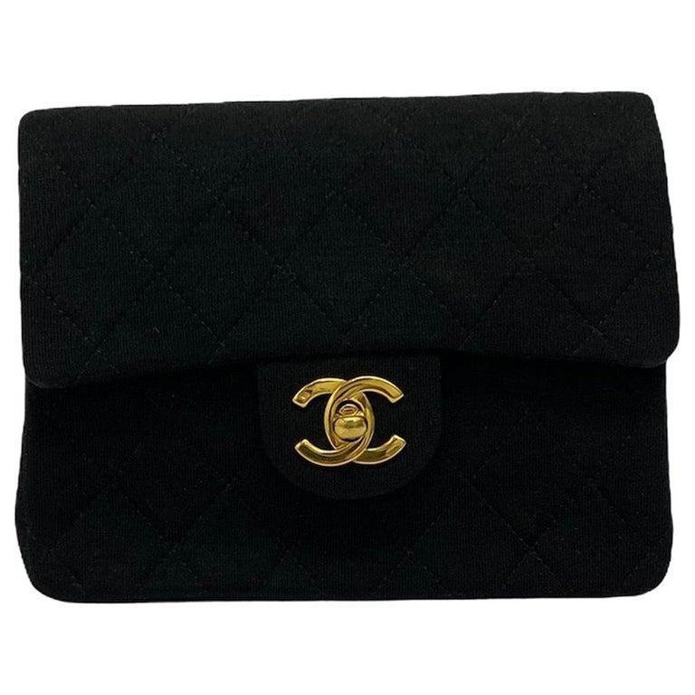 Chanel Black Fabbric Mini Flap Bag For Sale