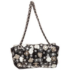 Chanel Black Fabric Floral Mesh Flap Shoulder Bag
