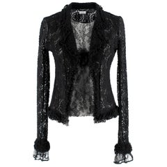 Chanel Black Fine Lace Vest Top & Cardigan 38 (FR)