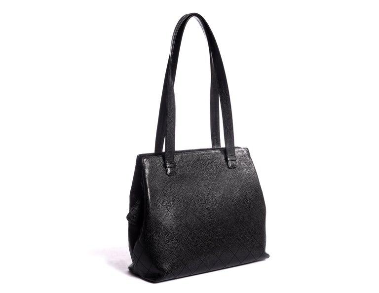 Classic Chanel black quilted caviar bag. No hologram shoulder drop 12