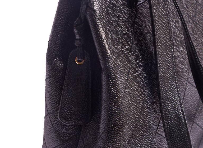 Women's Chanel Black Flat Quilted Caviar Bag For Sale